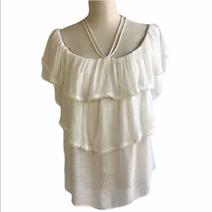 Umgee White Three Tiered Off Shoulder Top